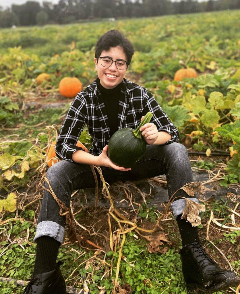Sterling in a pumpkin patch